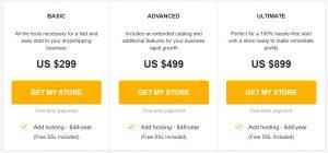 Sellvia custom store pricing plans